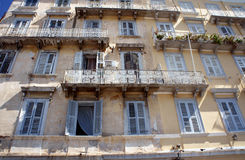 Facade of the building in the Venetian style in Corfu Royalty Free Stock Photo