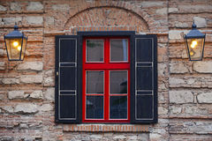 Facade of the building ,  window a red- black Royalty Free Stock Photos