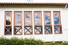 Facade of a building with windows. Royalty Free Stock Photos