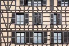 Facade of a building with windows in the Petite France Royalty Free Stock Image