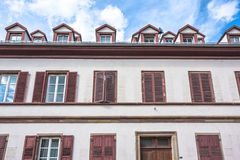 Facade of a building with windows in Petite France in Strasbourg Stock Photography