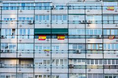 Facade building working class Madrid, Spain royalty free stock images