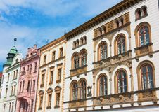 Facade of buildings in Czech Republic Royalty Free Stock Images