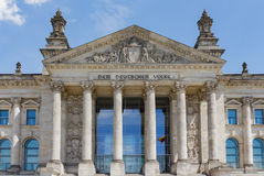 The facade of Bundestag/Reichstag Parliament Building in Berlin Stock Image
