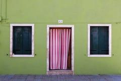 Facade in Burano, Italy Stock Photos