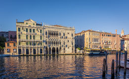 Facade of Ca D`Oro palace on Grand Canal in Venice, Italy royalty free stock images