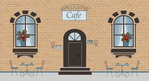 A facade of cafe on a brick background stock illustration