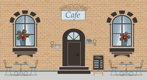 A facade of cafe on a brick background vector illustration