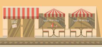 The facade of the cafe with umbrellas, chairs, tables Royalty Free Stock Photo