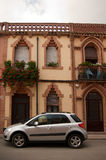 Facade and car Colonia Guell Catalonia Royalty Free Stock Photos