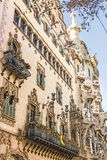 Facade of Casa Amatller, constructed between 1898 and 1900. Next to Casa Amatller is Casa Batllo. Barcelona - December, 2018: Facade of Casa Amatller stock photography