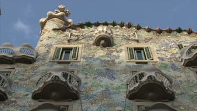 Facade of Casa Battlo in Barcelona stock footage