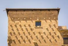 Facade of the Casa de las Conchas in Salamanca, Spain. exterior image shot from public floor Royalty Free Stock Photos