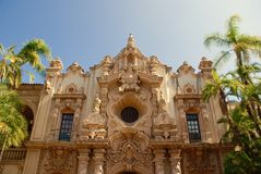 Facade, Casa del Prado, palms - Balboa Park, San Diego - Spanish baroque architecture Royalty Free Stock Photos