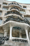 Facade of Casa Milà, aka La Pedrera, modernist building in Barc Royalty Free Stock Images
