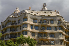 Facade of Casa Mila (La Pedrera) by Antoni Gaudi in Barcelona, S Royalty Free Stock Photo