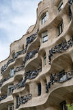 Facade of Casa Milla in Barcelona, Spain Royalty Free Stock Images