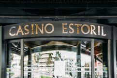 Facade of Casino Estoril in Estoril, Portugal which is closed due to the Coronavirus Covid-19 epidemic