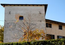 Facade of the castle with a small window in the castle of Strassoldo Friuli (Italy) Stock Images