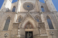 Facade of Catalan Gothic church Santa Maria del Mar, Barcelona,Spain Stock Images