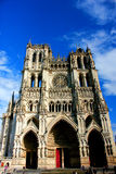 Facade of cathedral at amiens Royalty Free Stock Images