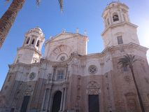 Facade of the Cathedral of Cadiz Stock Images