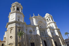 Facade of Cathedral. Cadiz Royalty Free Stock Photo