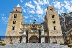 Cathedral of Cefalu in Sicily, Italy. Facade of the cathedral of Cefalu, of style called Sicilian Romanesque, in Sicily, Italy Stock Photo
