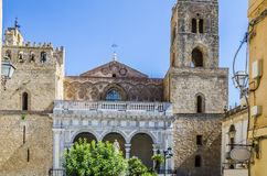 Facade of the cathedral of the city of monreale stock image