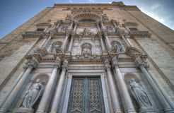 Facade of Cathedral in Girona Royalty Free Stock Image