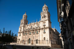 Facade of Cathedral in Jaen city Stock Photography