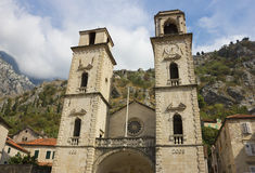 Facade of Cathedral in Kotor Royalty Free Stock Image