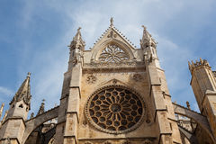 Facade of the cathedral of Leon Stock Photography