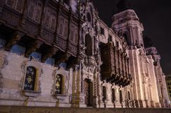 Facade of the Cathedral of Lima royalty free stock photography