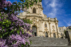 Facade of the cathedral of modica. Stairs and close-up of St. George`s Cathedral in Modica Stock Photos