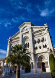 Facade of cathedral in Monaco on blue background Stock Photography
