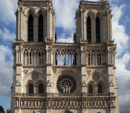 Facade of the cathedral Notre Dame de Paris Stock Images