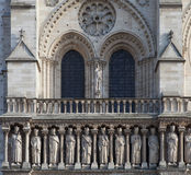 Facade of the cathedral Notre Dame de Paris. PARIS, FEBRUARY 15 : facade of the cathedral Notre Dame de Paris on FEBRUARY 15, 2013 in Paris, France Royalty Free Stock Images