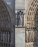 Facade of the cathedral Notre Dame de Paris Royalty Free Stock Photography