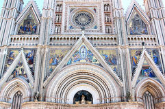 Facade of Cathedral in Orvieto, Italy Royalty Free Stock Images