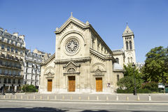 Facade of a cathedral  in Paris, France Royalty Free Stock Photos