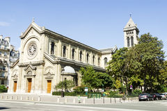 Facade of a cathedral  in Paris, France Royalty Free Stock Images