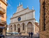 Facade of cathedral Santa Maria Annunziata in Vicenza Stock Photo