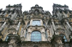 Facade of the Cathedral of Santiago de Compostela Stock Image