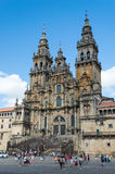 Facade of the Cathedral Santiago de Compostela Stock Photo