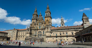 Facade of the Cathedral Santiago de Compostela Royalty Free Stock Photos