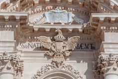Facade of the cathedral in Syracuse, Southern Sicily Royalty Free Stock Images