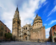Cathedral of Toledo, Spain. Facade of the cathedral of Toledo; the Santa Maria (Saint Mary) de Toledo. It is one of the largest cathedrals of Spain Royalty Free Stock Images