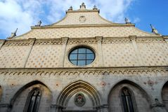 Facade of the cathedral of Vicenza in Veneto (Italy). Photo taken at the cathedral of Vicenza in Veneto (Italy). In the picture you see the upper part of the fa stock photography