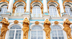 Facade at Catherine's Palace, Tsarskoe Selo (Pushkin), St Petersburg, Russia. Front Facade at Catherine's Palace, Tsarskoe Selo (Pushkin), St Petersburg, Russia Royalty Free Stock Images